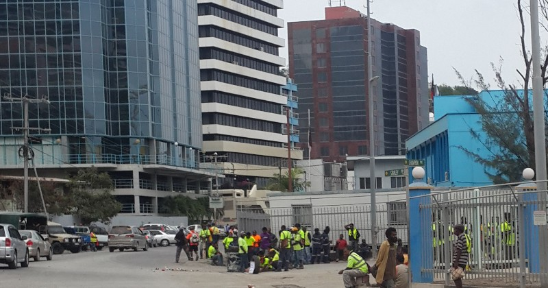Port workers on strike in Port Moresby