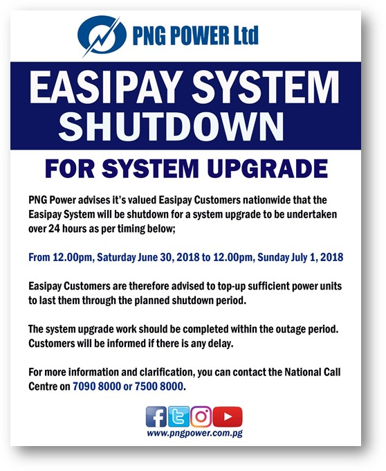 Easipay System Shutdown for System Upgrade